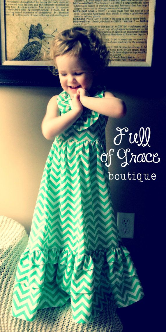 Mint Green Chevron Maxi Dress by FullofGraceBoutique on ...