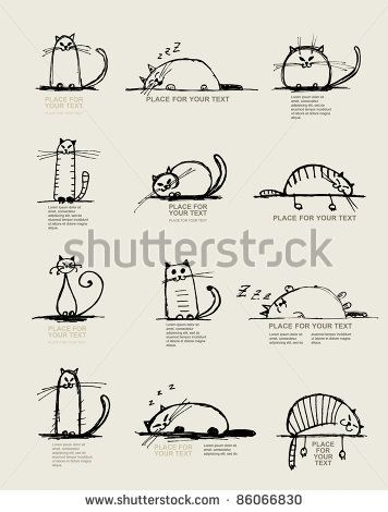 Funny cats sketch, design with place for your text