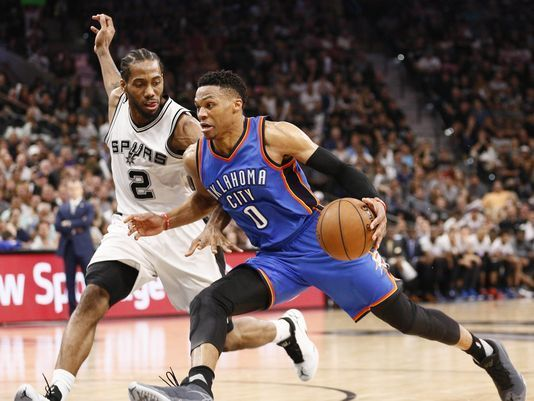 How many points did #RussellWestbrook make in #NBA Playoff Game 5 against #Spurs? www.nbabasketballquizgame.com