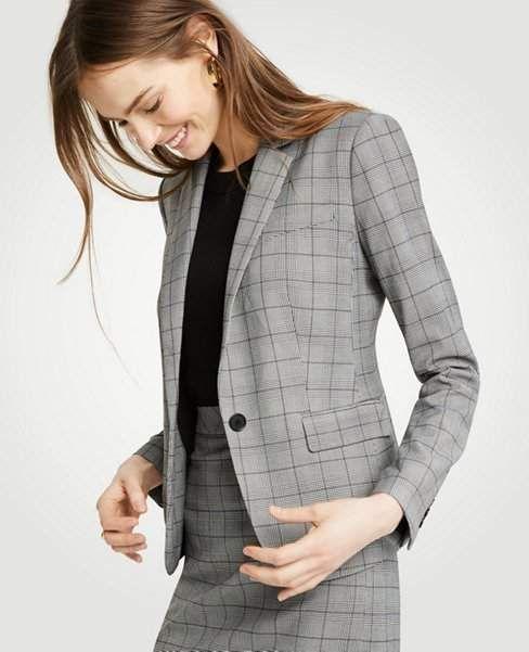 Ann Taylor Ann Taylor Glen Plaid One Button Perfect Blazer