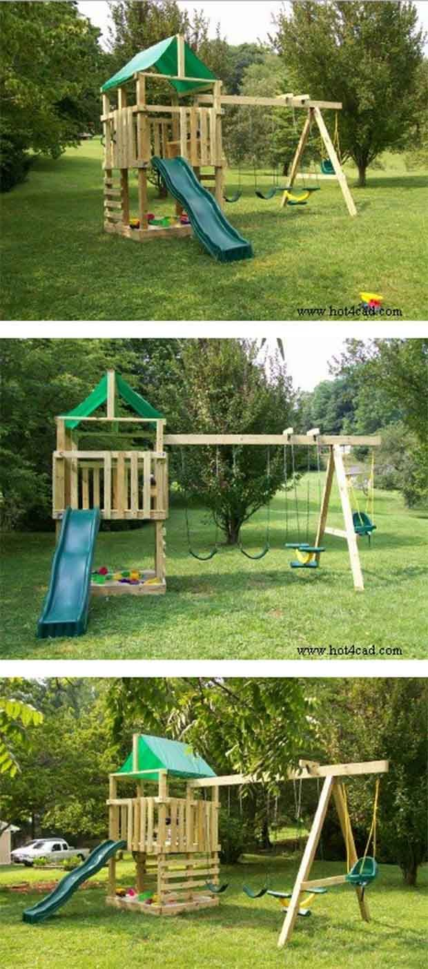 1000 ideas about kids playsets on pinterest swing set for Child swing plans free