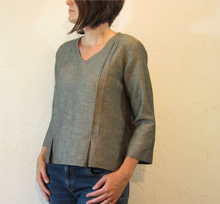 Linen Blouse - Black and Ivory with Pleats and Pintucks Love the tuck details