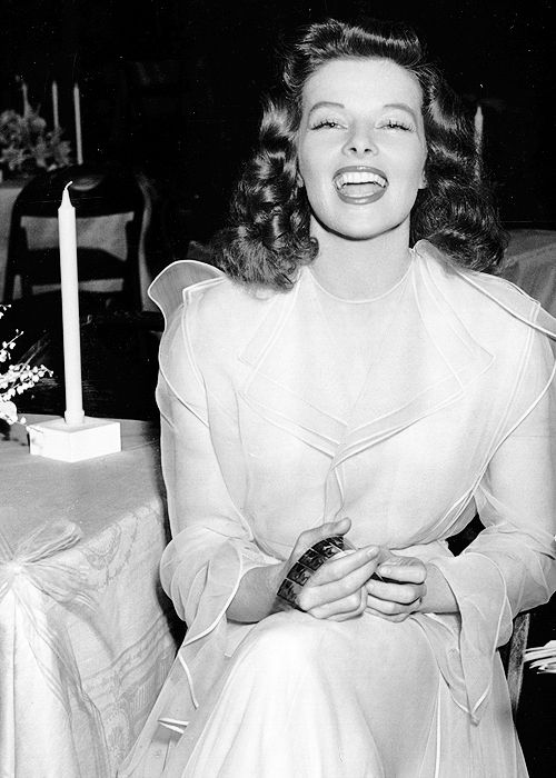 Katharine Hepburn on the set of The Philadelphia Story (1940)
