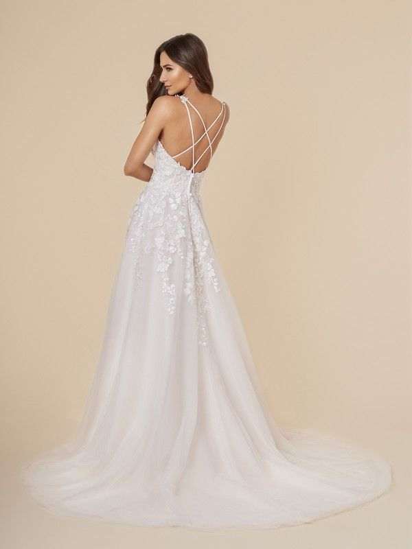 Lace And Tulle A Line Wedding Dress With Crisscross Back Wedding Dresses Lace A Line Wedding Dress A Line Bridal Gowns