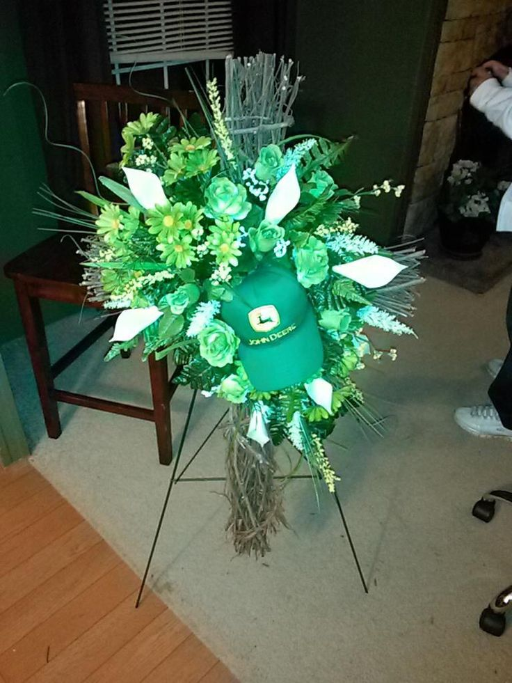 john deere themed funeral wreath made by one of our customers