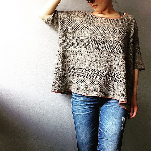 """...m/patterns/library/boxy""""﹥Boxy pattern for the basic shapes and use the lace pattern from <span class=""""best-highlight"""">cancun boxy lace top instead of kitchener stitch.</span> I picked and knitted different lace patterns from the lacy top randomly. Not really following..."""