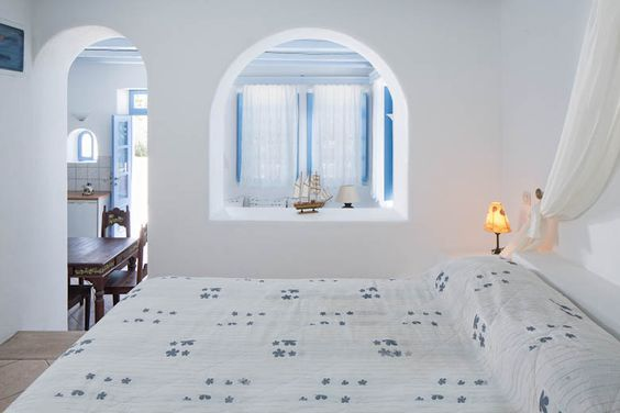 The #HoneymoonSuite of #MarilliaVillage in #Santorini has a bedroom along with a living room and two private verandas with garden view and is located on the ground floor of the complex. Couples from all over the word live in the Honeymoon Suite of Marillia Village romantic moments! #MarilliaVillage #studios #Santorini #Perivolos #Cyclades #Greece #hotel #accommondation #colors #decoration #summer #holidays