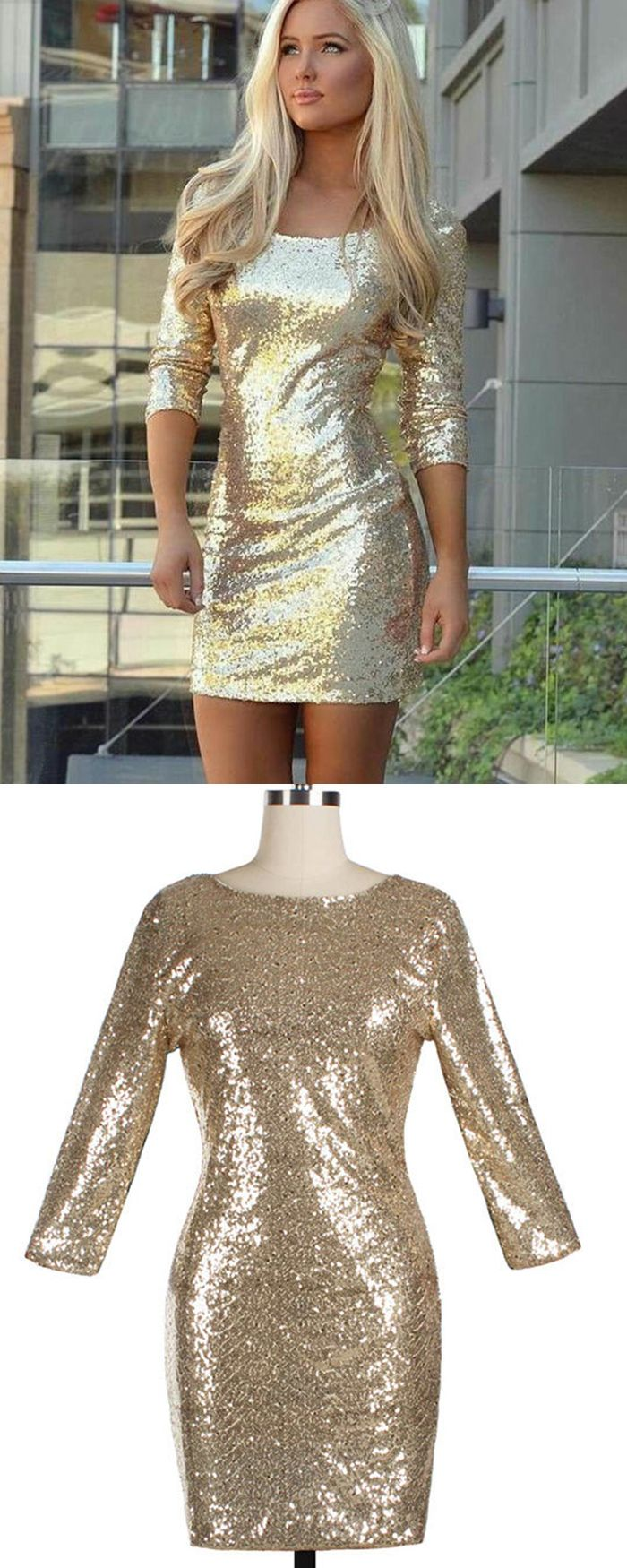 Sequined Sheath Scoop Gold Cocktail Dress With 3/4 Length Sleeves HD3182