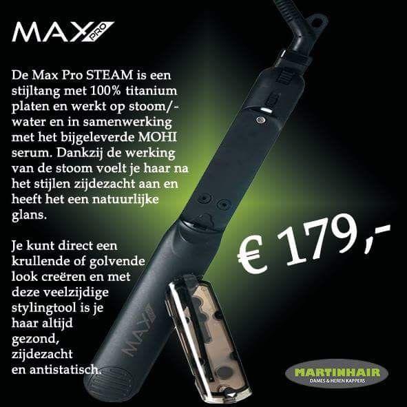 De #maxpro #steam #stijltang nu ook bij ons verkrijgbaar! Met deze stijltang krijg je  #stijlhaar, #zijdezacht, #glanzendhaar, #gezond en #antistatisch haar, te gebruiken met het #mohi #serum  Wij vinden hem echt #super !