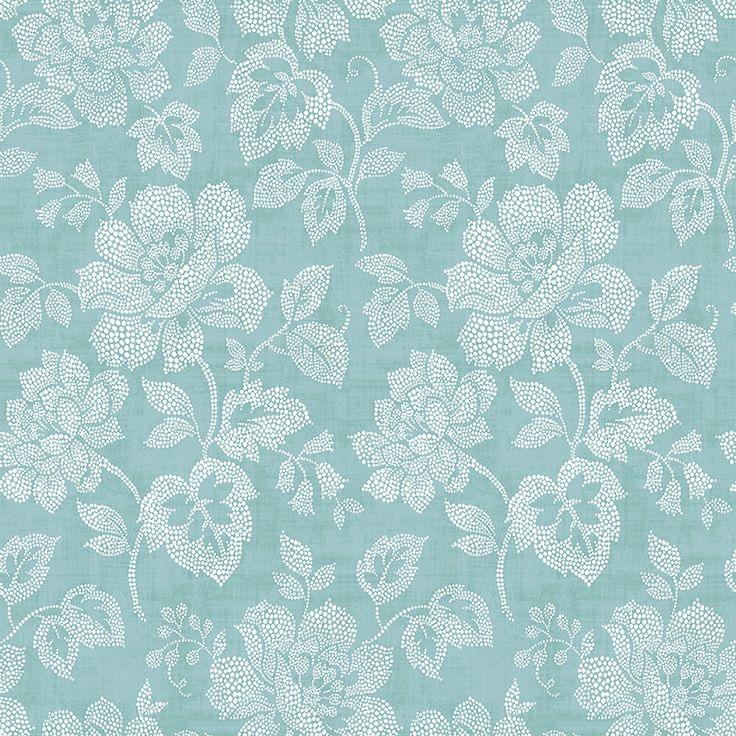 "Tivoli 33' x 20.5"" Floral Wallpaper Turquoise floral"
