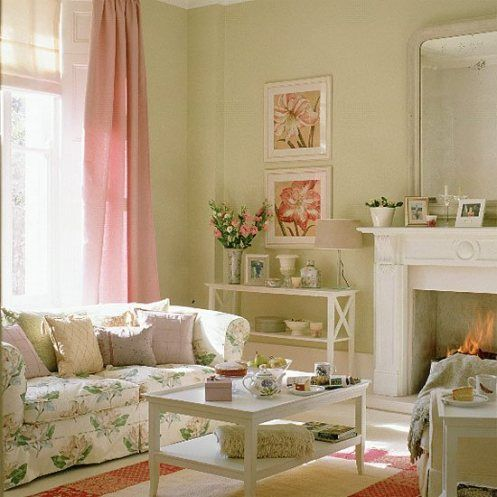 Image Detail For Soft Green White And Pink Romantic Country Style Living Room