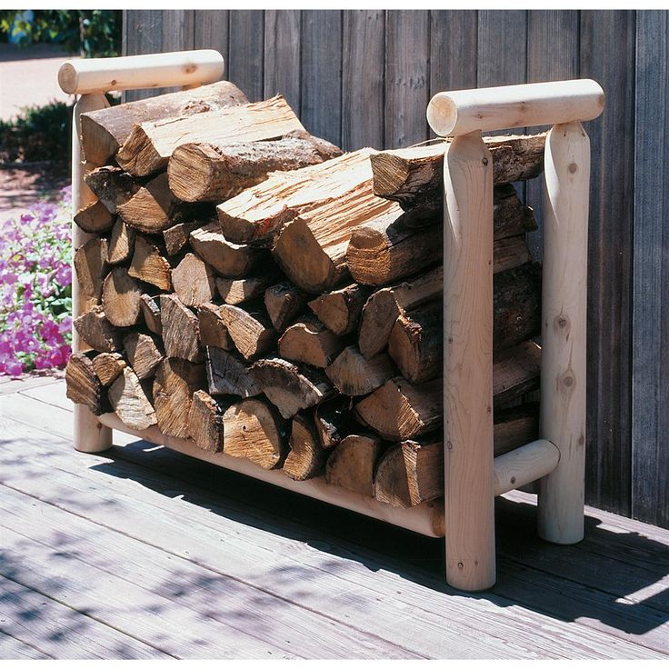 Rustic Natural Cedar Furniture Company 3' Cedar Log Style Firewood Rack