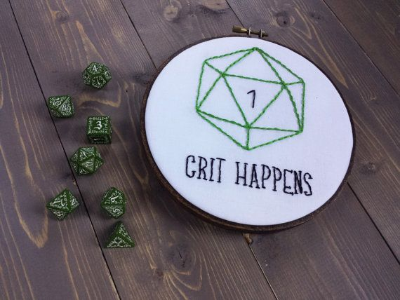 DnD Crit Happens Hand Embroidery 6 Inch Hoop | Dungeons and Dragons | Nerd Art | D20 | Dice Embroidery