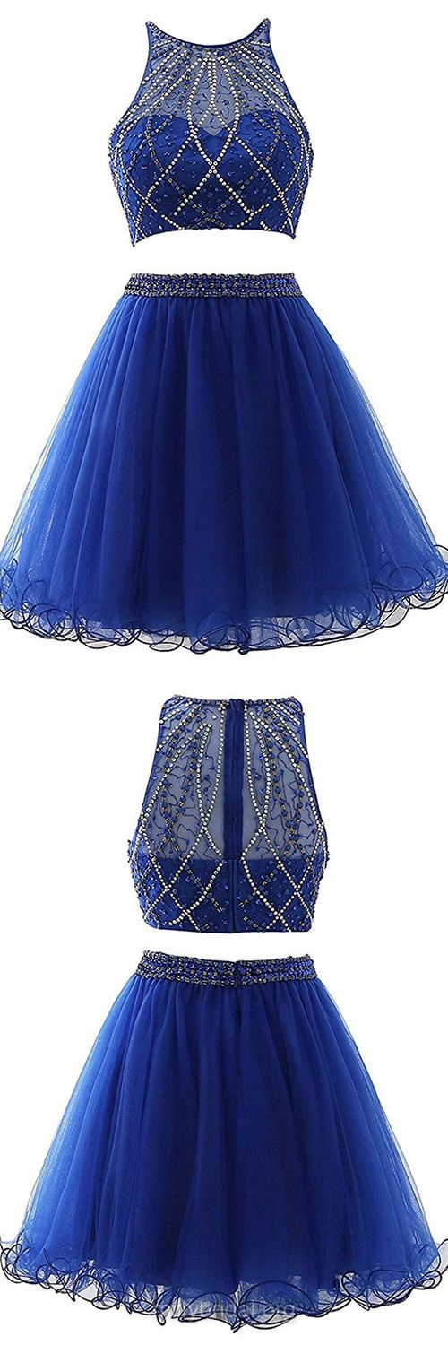 Original Royal Blue Two Piece Prom Dresses,A-line Scoop Neck Short Homecoming Dresses,Tulle Beading Formal Evening Gowns