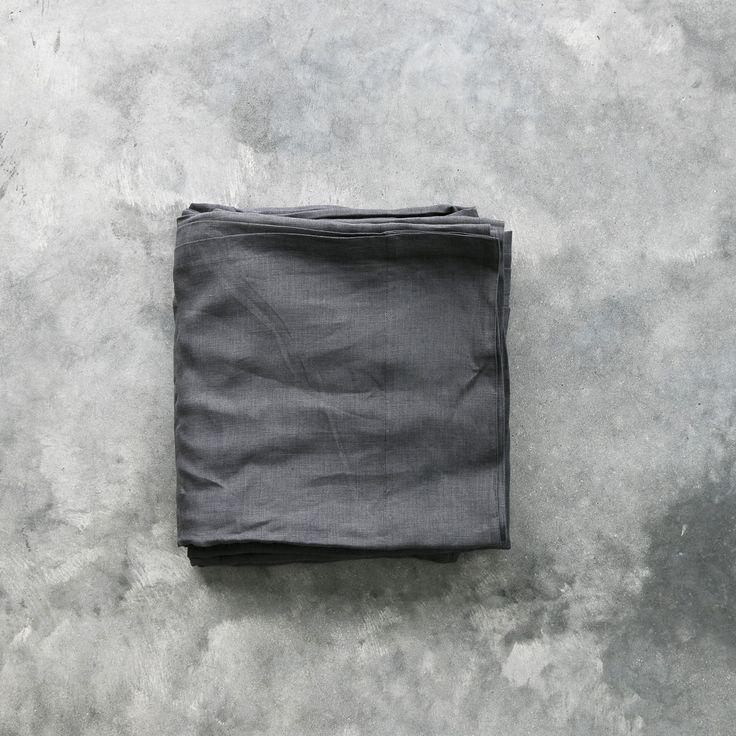 Linen Flat Sheet - Gun Grey