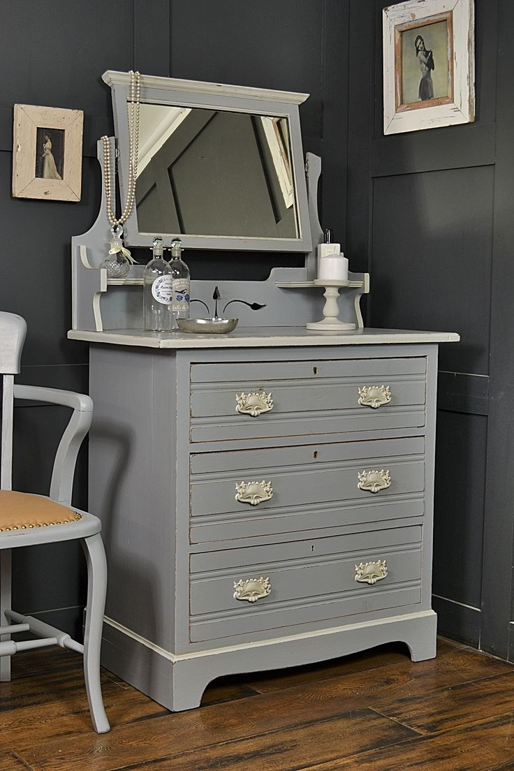 Want a period statement piece for your bedroom? This stunning Victorian dressing table with drawers and adjustable mirror is painted in Little Greene Mid Lead, with Farrow & Ball Pavillion Grey detailing - just gorgeous! http://www.thetreasuretrove.co.uk/bedroom-storage/victorian-shabby-chic-dressing-table-with-mirror