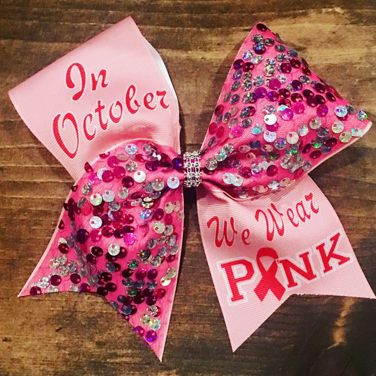 Pink cheer bow ,in October we wear pink breast cancer awearoness cheer bow , cheer bow , cheerbow , chealeader , breast cancer bow
