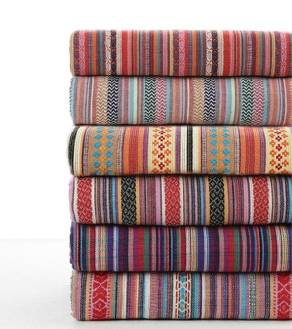 Stripy Cotton Fabric BOHO Bohemian fabric Upholstery fabric Bag Purse Cushion Fabric- 1/2 Yard  - 1/2 yard
