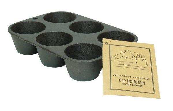 - Lodge Home Decor - Old Mountain Cast Iron Preseasoned Muffin Pan 6 Impression
