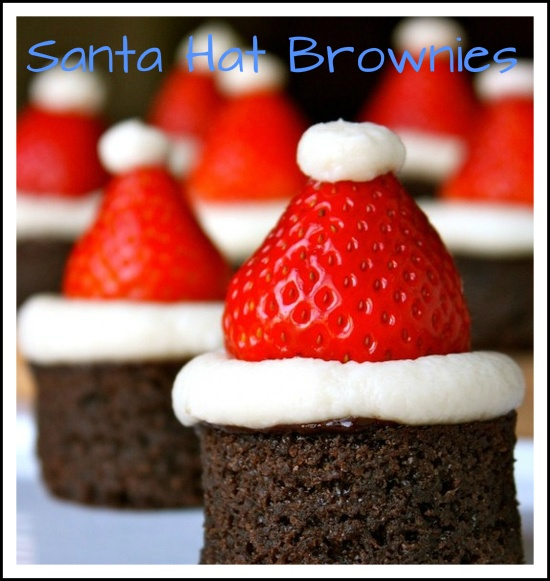 Recipe: http://daisysworld.net/2011/12/04/santa-hat-brownies/  Cute holiday snack! For a Christmas Party?