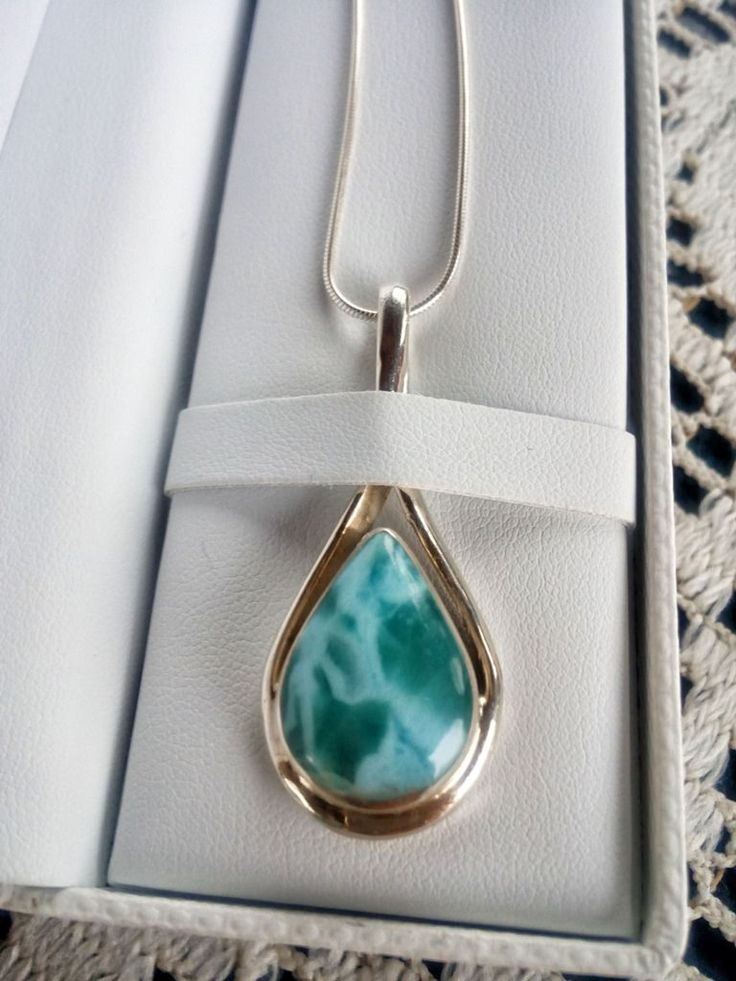 Soothing blues of Larimar stone (Photo: Fab Fashion Fix). #turquoise #larimar #jewelry #necklace #teardrop