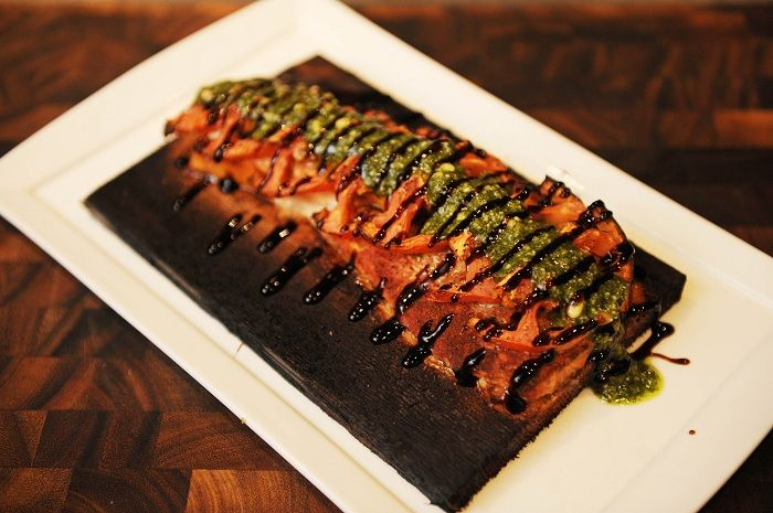 Cedar plank baked redfish w pesto sliced tomatoes for Red fish recipes