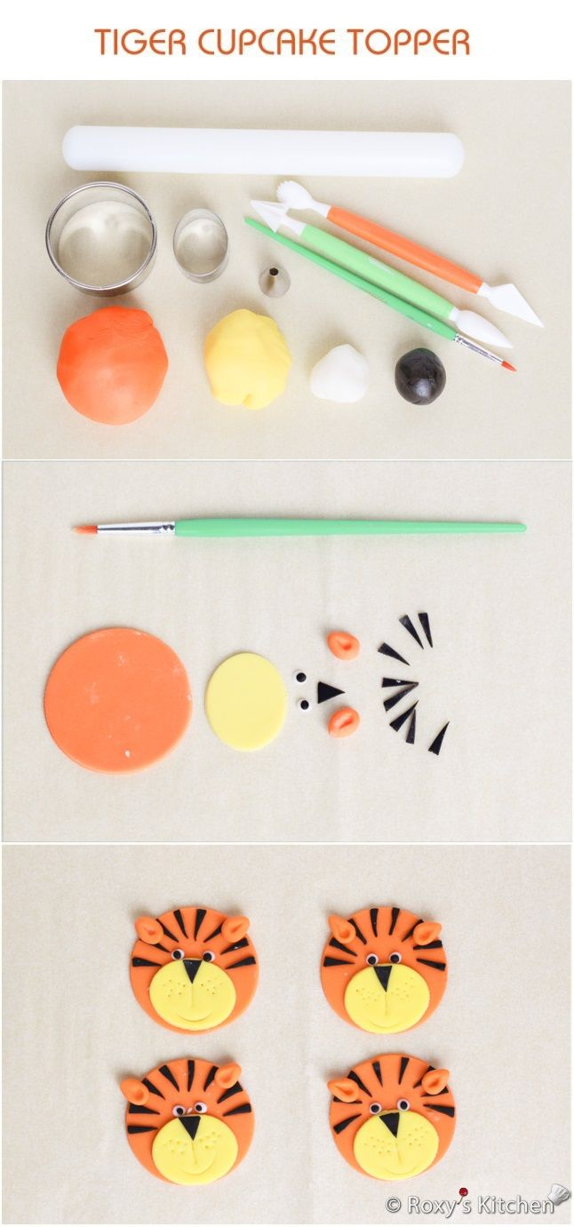 Tutorial with Step by Step Instructions & Photos - How to Make a Fondant Tiger Cupcake Topper / Safari Jungle Animals Birthday Party