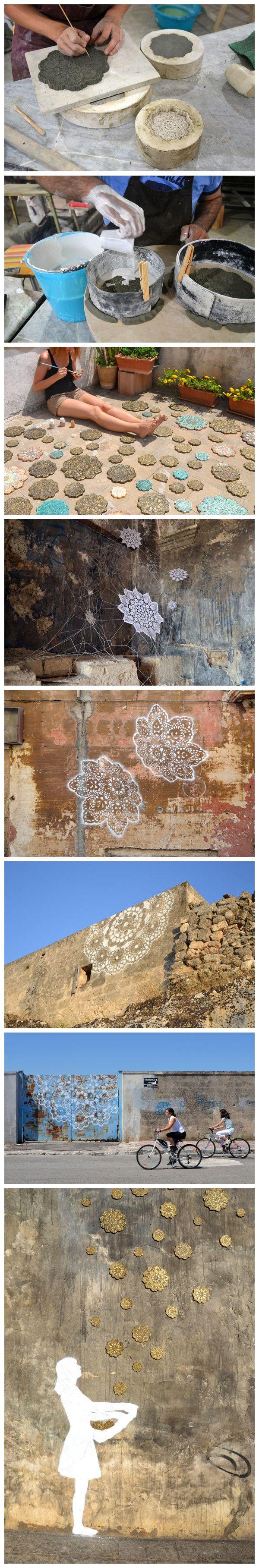 Mulheres polonesas Nespoon artistas, legal Ailei padrão Si.  Ela não apenas o padrão de renda grafite nos cantos da cidade de rua, mas também pessoalmente fazer um molde, um tipo de dispositivo de canto decorar a cidade.