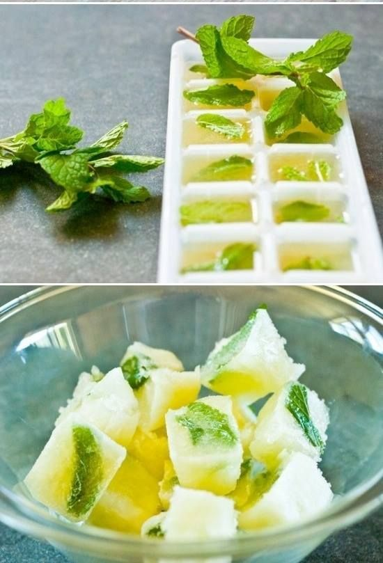 lemon and mint water - ice cubes - yum!
