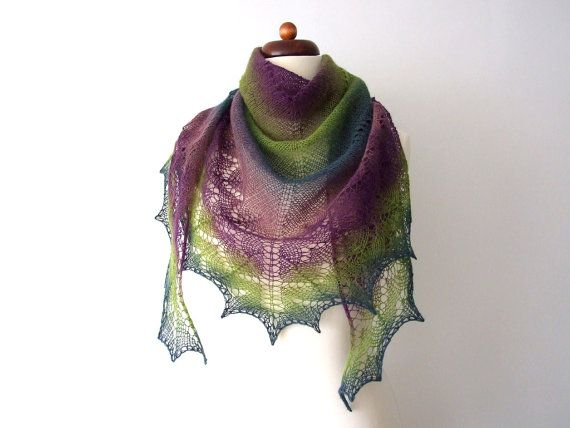 Light wool shawl in shades of green and purple 25% off and with free shipping http://etsy.me/2CAlpYI via @Etsy #sale #bargain #woolscarf #lace shawl