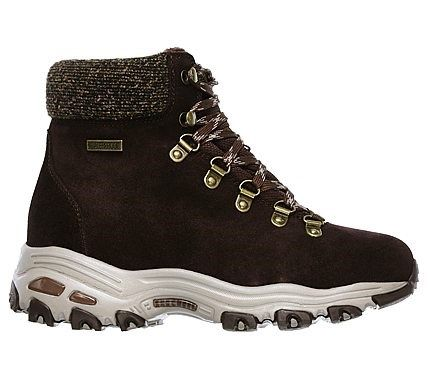 Skechers Women's D'lites Powder Waterproof Memory Foam Lace Up Boots (Chocolate)