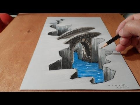 Illustration, Drawing a 3D Bridge, Trick Art - YouTube