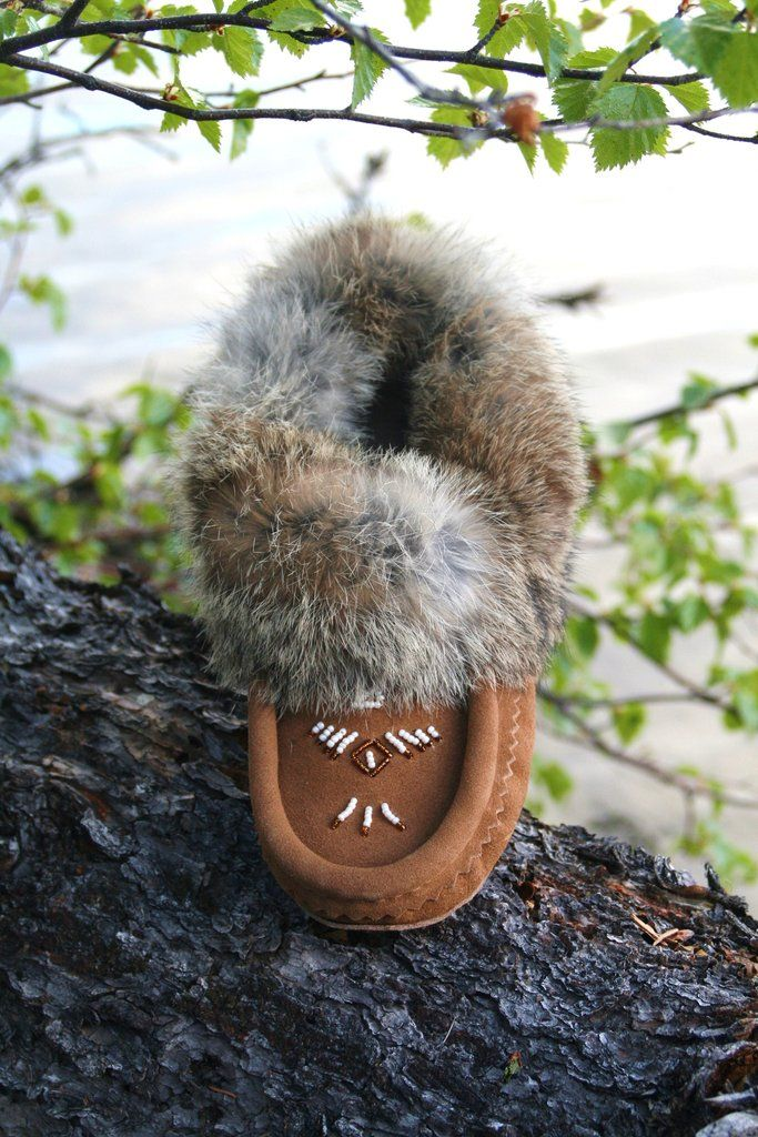 Ladies Mocha Canadian Made Leather Fur Trim Beaded Moccasins - Leather Moccasin - Rabbit Fur Moccasin - Fleece Line Moccasins - Winter Slippers