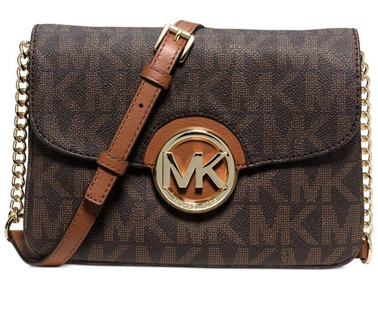afd6432ec ... Brown NWT MICHAEL KORS FULTON FLAP GUSSET MK SIGNATURE LOGO CROSSBODY  BAG BROWN 198 MichaelKors ...