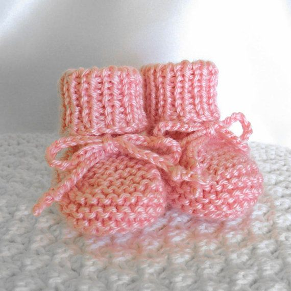Pink Baby Booties Shoes Girl Knit Baby Booties by SticksNStonesGifts