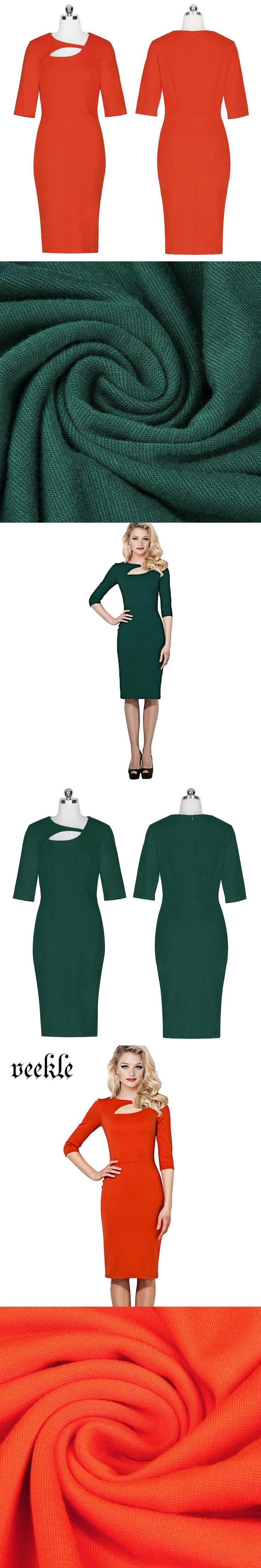 VEEKLE New 2017 Spring Women Solid Office Dress 3/4 Sleeve Elegant Ladies Wear to Work Dresses Robe Femme Kleider Orange Green