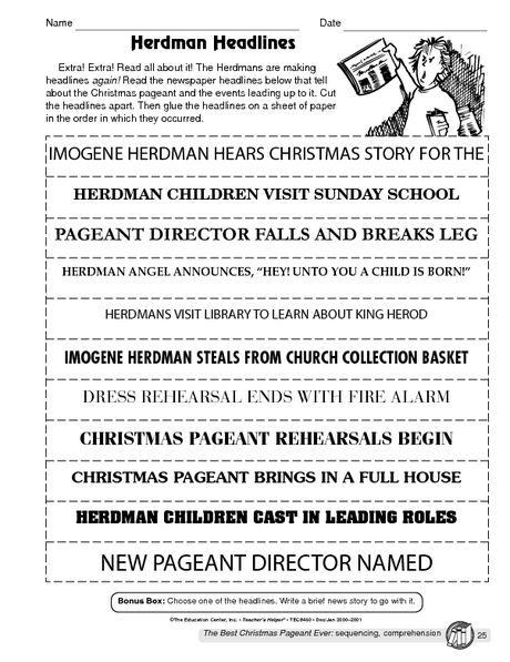 Free Printable Lessons Plans: Free Printable For The Best Christmas Pageant Ever