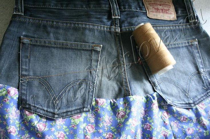 Юбка из джинса и ситца