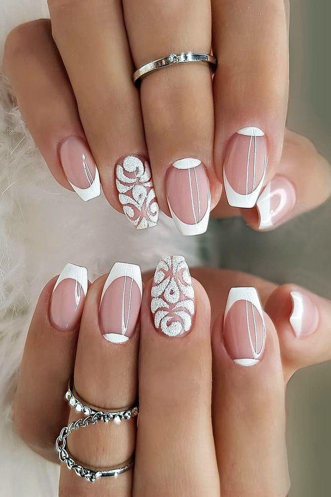 30 Stylish White Nail Designs Bridal Ideas Wedding Forward In 2020 White Tip Nail Designs French Nail Designs White Tip Nails