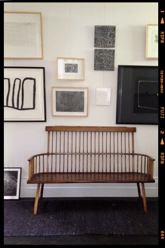 bench and lovely gallery wall