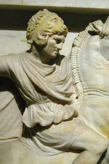 Detail of 'Alexander Sarcophagus'. Though it is called the Alexander Sarcophagus, in fact, it does not belong to Alexander the Great. It is thought to be the sarcophagus of Abdalonymus, the king of Sidon. I Istanbul Archaeology Museum