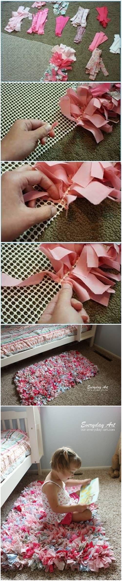 DIY Adorable Handmade Rag Rug #craft #rug