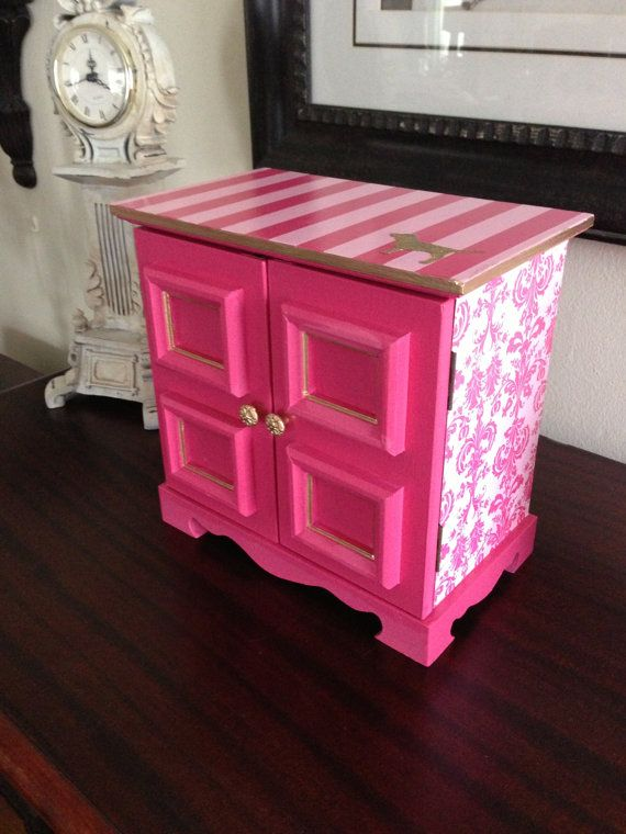 vintage musical jewelry box upcycled in secret pink inspired theme via etsy