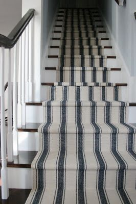 Striped Ticking carpeting stair runnerWin Runners, Beach House, Dreams Stairs, Charms Doodle Sewing, Charms Doodles Sewing, Carpets Stairs Runners, Stair Runners, Dash And Albert Stairs Runners, Runners Reveal