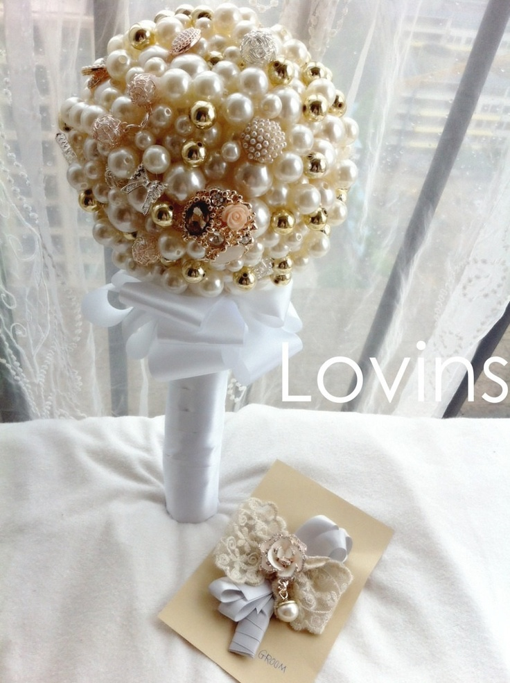 Pearls Brooches Wedding Bouquet Bridal Bouquet with by Lovins, $129.99