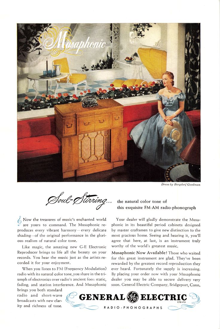 1960 GE All In One Stereo Ad, Vintage Radio, Camera, TV Ads