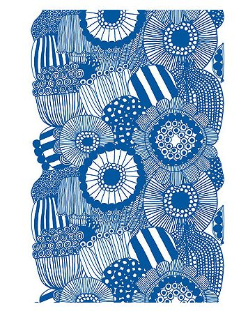 Marimekko blue print cotton fabric. Check out more Modern Floral finds on my website!