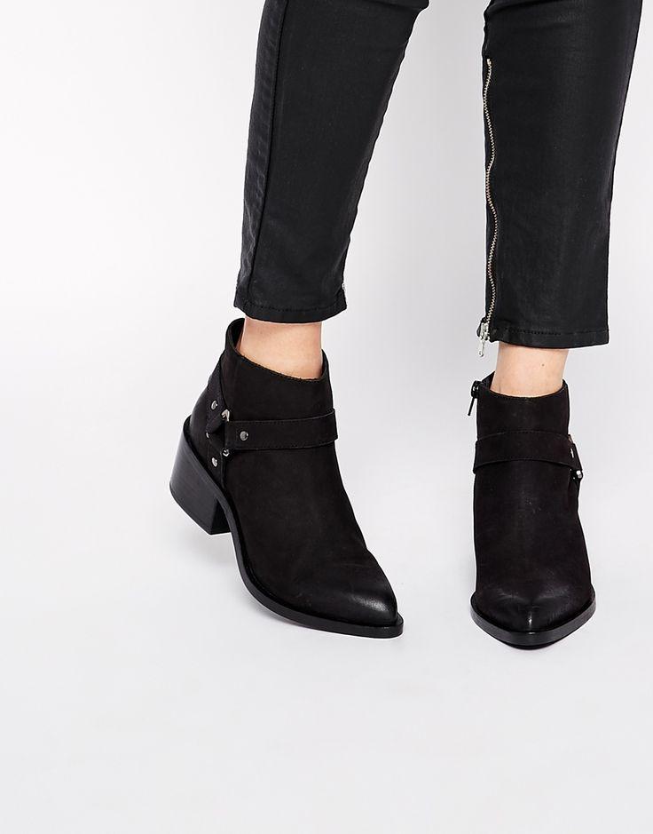 Image 1 ofASOS RAPID Leather Stirrup Weave Ankle Boots