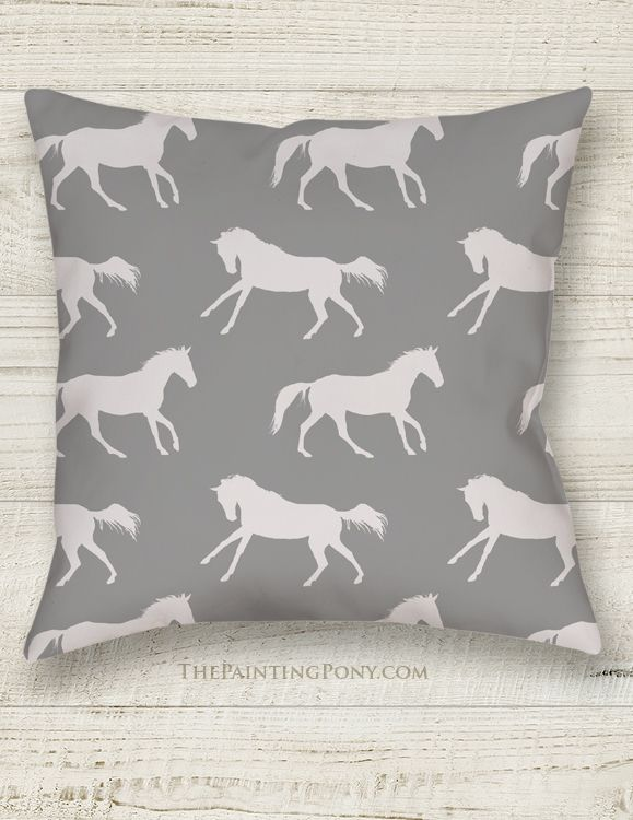 Horse Lover PILLOWS - Gray Horse Pattern Pillow - The Painting Pony - great equestrian home decor