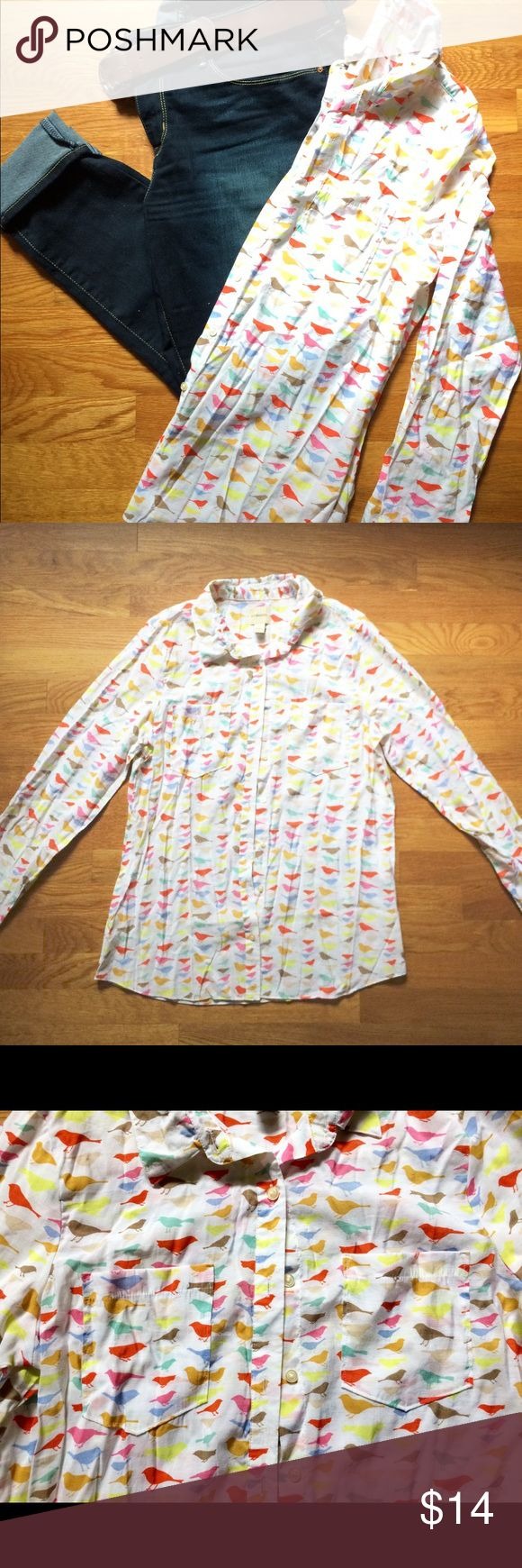 Women's Button Down Shirt. Women's Button Down Shirt. In a size Large. The Brand is G. H. Bass & Co. The material is 80% Ravon & 20% Nylon. Is in Excellent Condition and has a Lovely Multi Colored Bird Pattern. No stains or Flaws. I would keep it for my self but is to small for my current size. Price is negotiable so make me an offer!👍🏻 Thank You!☺️ ❌No Trades, Pants Not Included!❌ G. H. Bass & Co. Tops Button Down Shirts